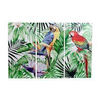 Wall decoration Jungle Parrot 3panel