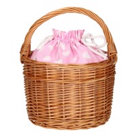 Wicker Basket With Handle  Pink With Hearts
