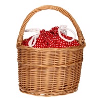 Wicker Basket With Handle  Red With Dots