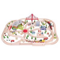 Wooden train set in wooden box, 130psc