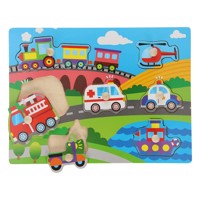 Wooden button puzzle transport 7 pcs