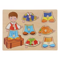 Wooden dressup button puzzle boy 8 pcs