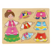 Wooden dressup button puzzle girl 8 pcs