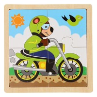 Wooden jigsaw puzzle motor bear 4 pieces
