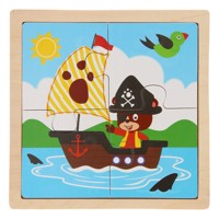 Wooden jigsaw puzzle pirate bear 4 pcs
