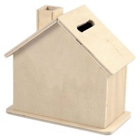 Wooden Moneybox House, 10pcs