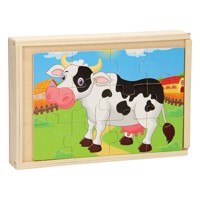 Wooden puzzle box 4 in 1 farm
