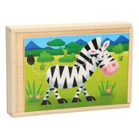 Wooden puzzlebox 4 in 1 wild animals
