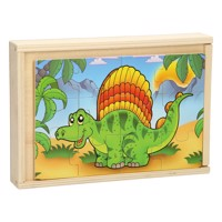 Wooden Puzzleset With 4Puzzles Dinosaur