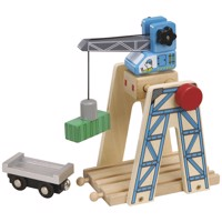 Wooden Rails Loading Crane With Container