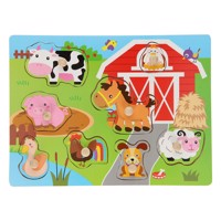 Wooden stud puzzle farm 8 pcs