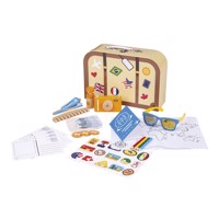 Wooden travel case with play set